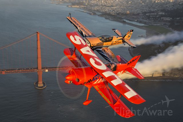 PITTS Special (S-1) (N5111B) - Mike Wiskus and Super Dave Matheson over San Francisco Bay during the weekend of the Fleet Week Airshow