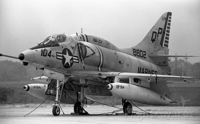 14-8602 — - A look back at a VMA-124 A-4 Skyhawk on deck at NAS Memphis