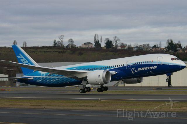 Boeing 787-8 (BOE1) - Prototype 787 seen departing KBFI on a test flight.