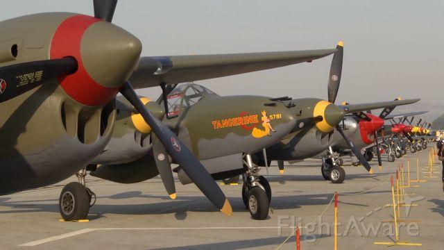 — — - Lockheed P-38 Lightnings
