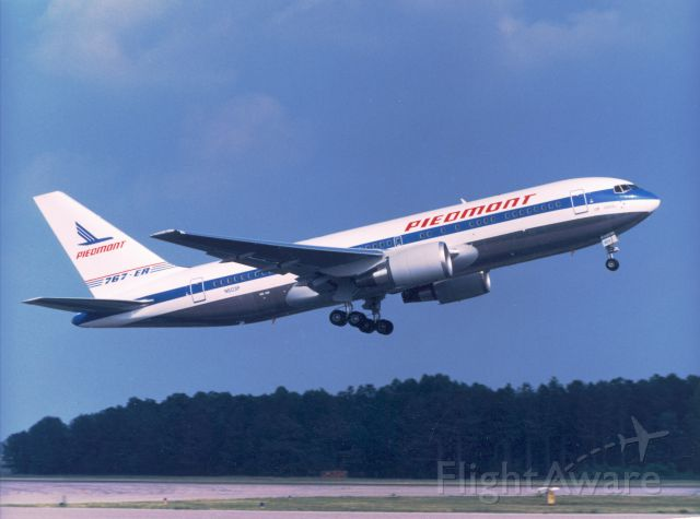 N603P — - The Pride of Piedmont leaves the Charlotte, NC hub on June 15, 1987 with 187 passengers on the inaugural flight bound for London