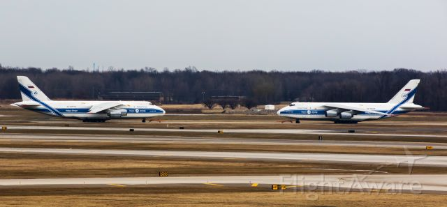 Antonov An-124 Ruslan (RA-82078) - What a rare sight to behold folks! Not one, but TWO Russian Antonov AN-124 Ruslans parked out near the open field at Detroit Metro Airport.br /br /The Antonov to the left (RA-82078) arrived via flight VDA1796 on January 24th, 2016 en route from Edmonton Itl (CYEG). br /The Antonov to the right (RA-82045) arrived via flight VDA1794 on January 22nd, 2016 en route from Edmonton Itl (CYEG).