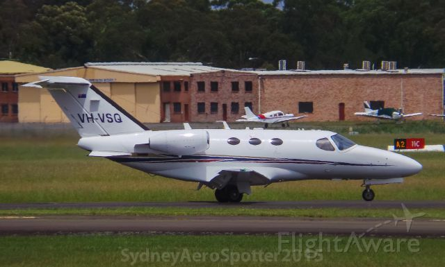 Cessna Citation Mustang (VH-VSQ) - VH-VSQ Taxiing To 11C For A Departure For Port Maquarie