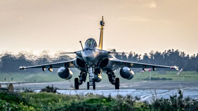 — — - French Airforce Rafale fighters landing at Larnaca Airport after a fuel emergency