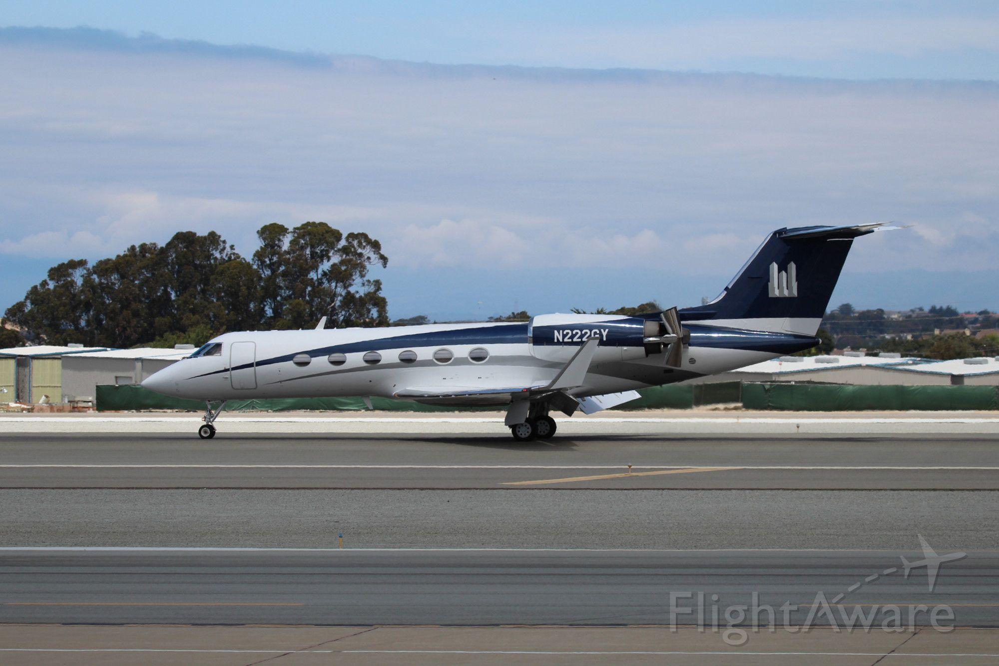 Gulfstream Aerospace Gulfstream IV (N222GY) - KMRY - Gulfstream landing 28L at Monterey.