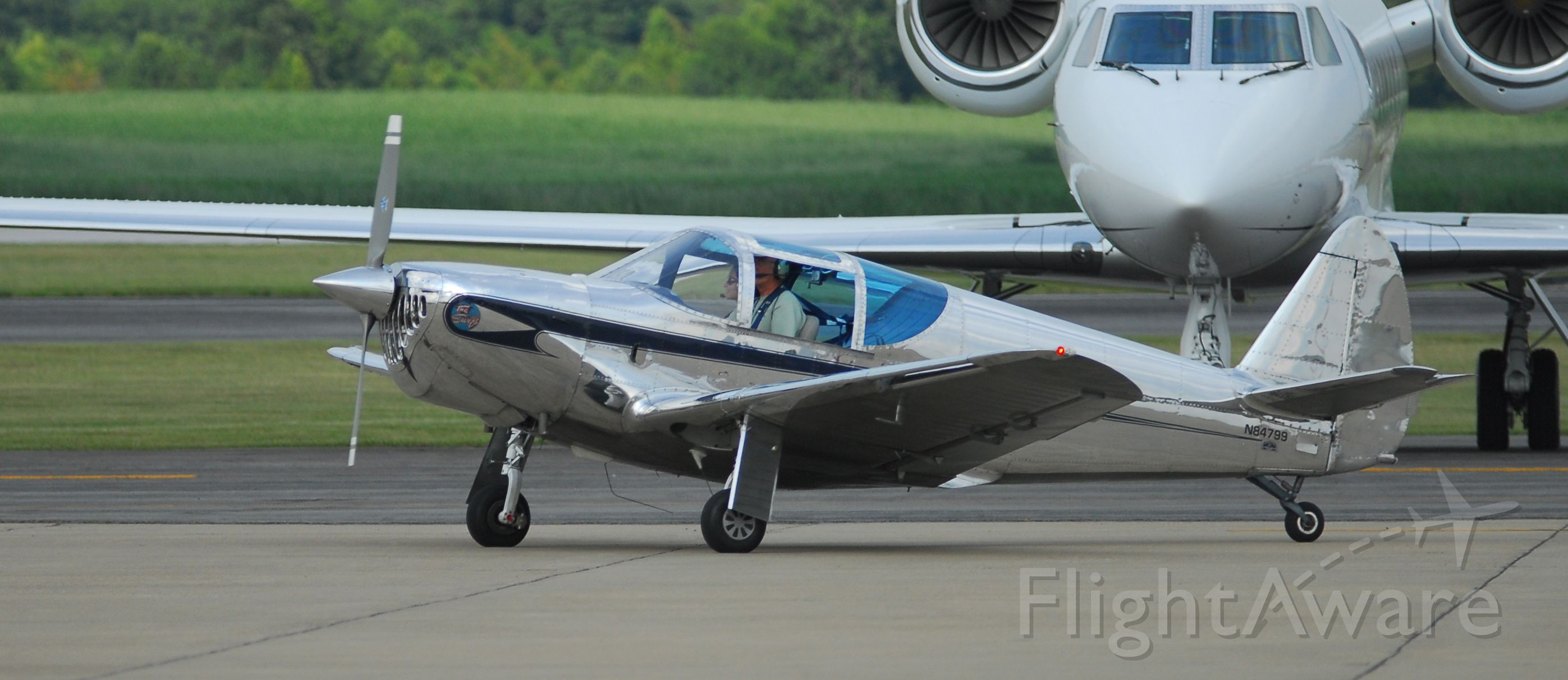 SUPERMARINE Swift (N84799) - Taxiing in from demo flight at 2012 AHP Hangar Party.
