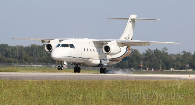 Fairchild Dornier 328JET (N407FJ) - An Ultimate Jet Charter Fairchild Dornier 328-300 (328JET) arriving Runway 18 at Pryor Regional Airport, Decatur, AL - September 13, 2019.