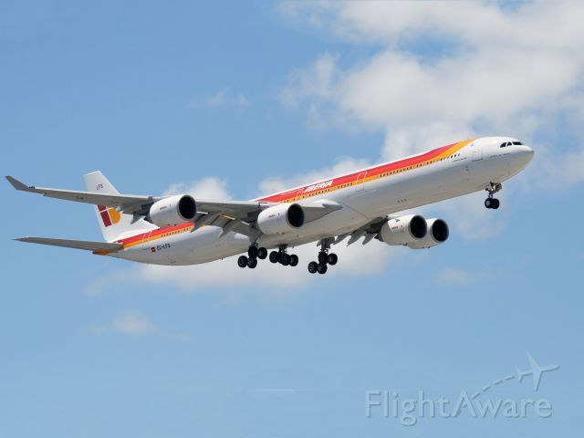 EC-LFS — - An Airbus A340-600 of Iberia, the Spanish Airlines. Raw photo courtesy of LEARJETMIAMI - thank you!