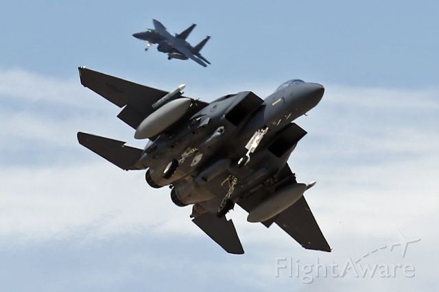 McDonnell Douglas F-15 Eagle — - A pair of Strike Eagles on approach to Nellis AFB, Nv