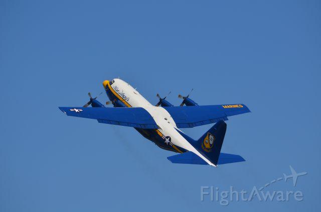 "Lockheed C-130 Hercules — - Deke Slayton Airfest June 2014. Blue Angels support aircraft ""Fat Albert"" making steep climb."