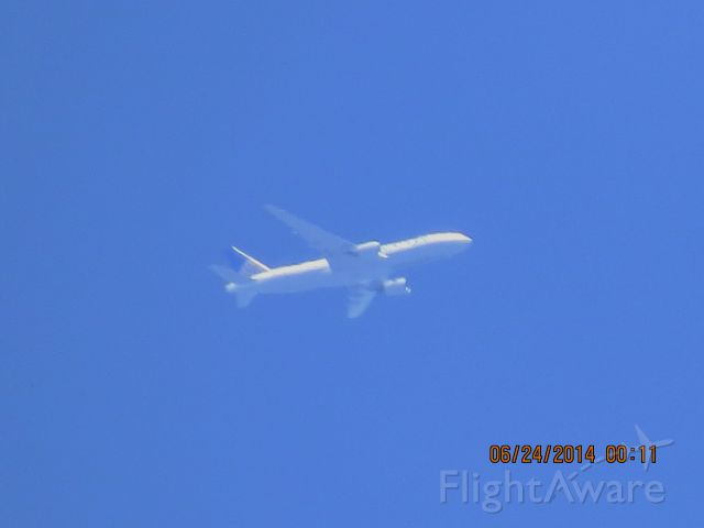 BOEING 777-200LR (N796UA) - United flight 326 from LAX to IAD over Baxter Springs Ks at 34,975 feet.
