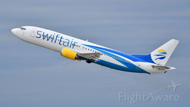 BOEING 737-400 (N808TJ) - Swift Air Boeing 737-400 (N808TJ) departs KRDU Rwy 23L on 10/26/2019 at 5:19 pm.