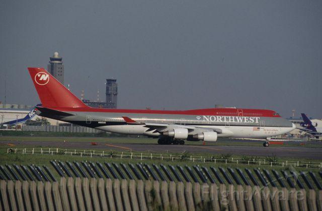 """Boeing 747-400 (N662US) - Departure at Narita Intl Airport Rwy16R on 1996/05/10 """" Spirit of Beijin """""""