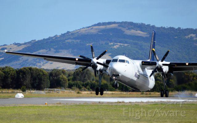 Fokker Maritime Enforcer (VH-FKV) - Alliance F50 landing RWY 14 Flinders Island, Mar 2017