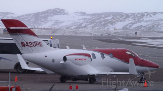 Honda HondaJet (N420HE) - At the Iqaluit airport, in the wind and snow.