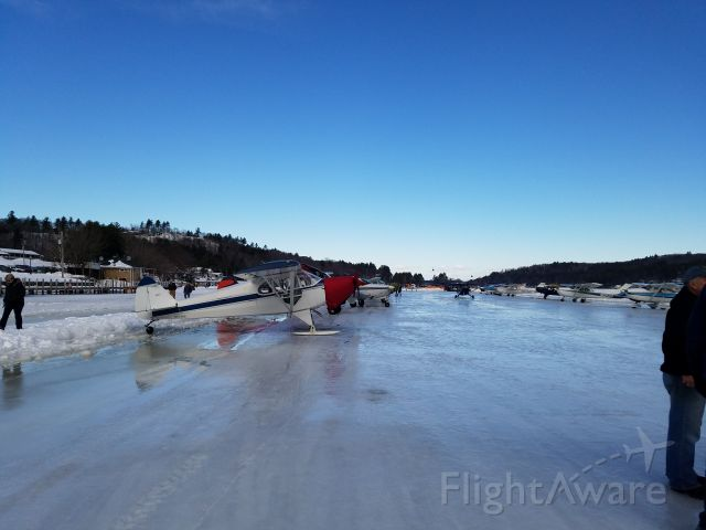 Piper PA-12 Super Cruiser (N61465) - Parked with engine cover on at Alton Bay Seaplane Base (B18) in FEB 2016.  This was one stop along our way from Southern Virginia to Moosehead Lake, Maine.