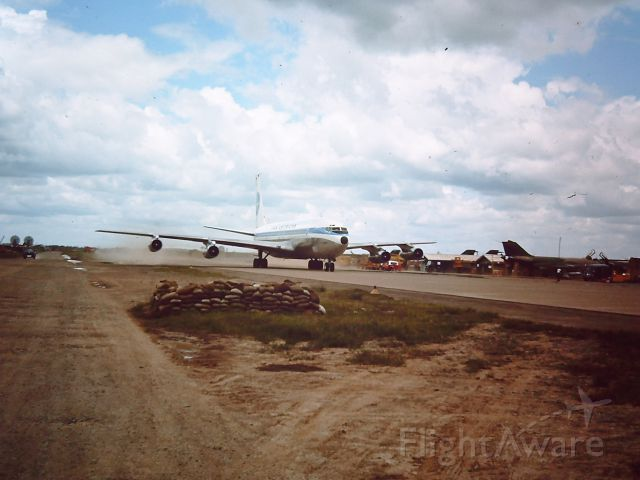 Boeing 707-100 — - TAN SON NHUT AIR BASE, SAIGON, VIETNAM 1966 PAN AM Boeing 707 taxing to the ramp