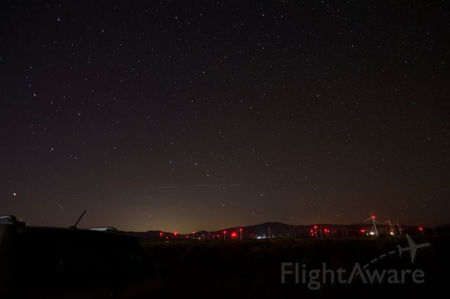 — — - One nav light track & the International Space Station over the northern Antelope Valley in Southern California