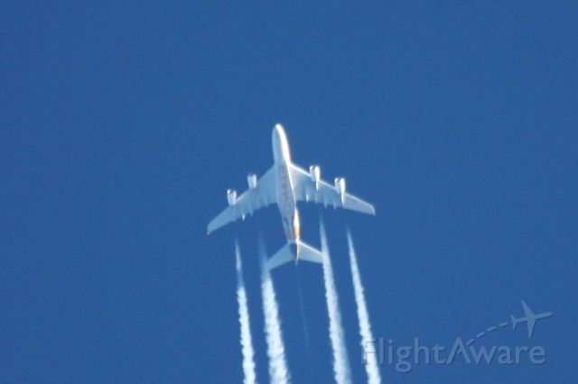 Airbus A380-800 (A6-APB) - Flying over Boston en route to JFK.