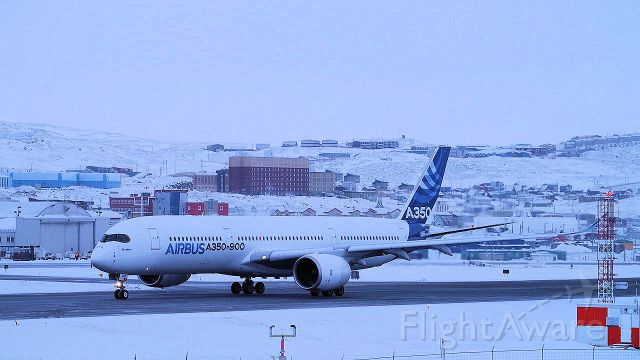 Airbus A350-900 (F-WZGG) - The Airbus 350-900 was in Iqaluit for cold weather testing in February 2014.
