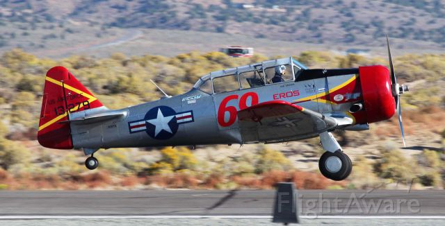 """North American T-6 Texan (N3173L) - The official list of racers who will be participating in the 2017 National Championship Air Races (aka: Reno Air Races) is out and Lee Oman, piloting """"Eros"""" (N3173L), a North American AT-6 Texan, will be competing again this year.   This click is from last year"""