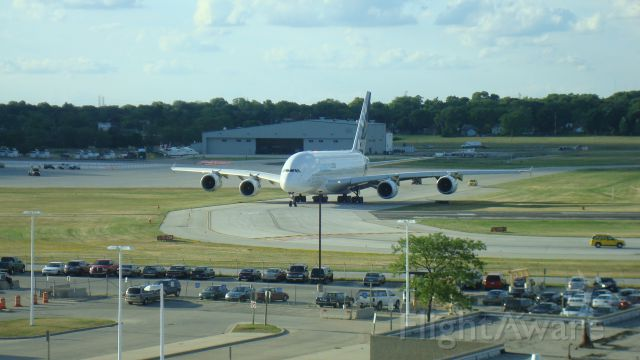 Airbus A380-800 (F-WWDD) - Taxxing to the active at Milwaukee, heading back to Toulouse.