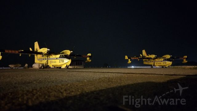 Canadair CL-415 SuperScooper (C-GOGZ) - Two ontario Canadair CL-415 SuperScoopers (GOGZ+GOGF) overnighting in CYQL on their way to provide support fighting wildfires near Waterton Lake National Park, Alberta