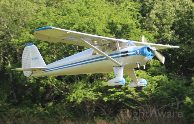 TEMCO Silvaire (N1594K) - A 1946 model Luscombe 8E departing Moontown Airport, Brownsboro, AL, during the EAA 190 Breakfast Fly-In - May 20, 2017.