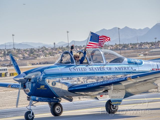 N134JC — - 2019-11 17, Aviation Nation Air Show at Nellis AFB. Julie Clark's last performance. I always enjoyed watching her gleaming T-34 carve it's way through the sky.