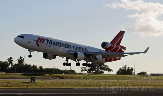 Boeing MD-11 (PH-MCS) - MD-11 almost touching down at Rwy 8 BQN.