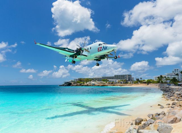 Beechcraft 1900 (PJ-EZY) - EZAir inbound for landing at St Maarten everyone is welcome back to our shore's of wonderful sun sea and lots of fun!