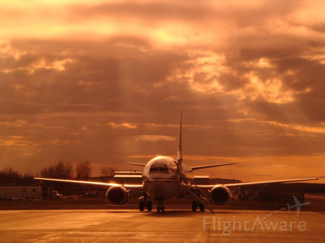 BOEING 737-400 (C-FLER) - Flair Air on a sunshine filled Fort McMurray morning.