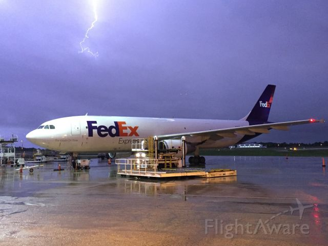 """Airbus A300F4-600 (N743FD) - Fed Ex Airbus """"Gita"""" is surrounded by lightning on a stormy evening."""