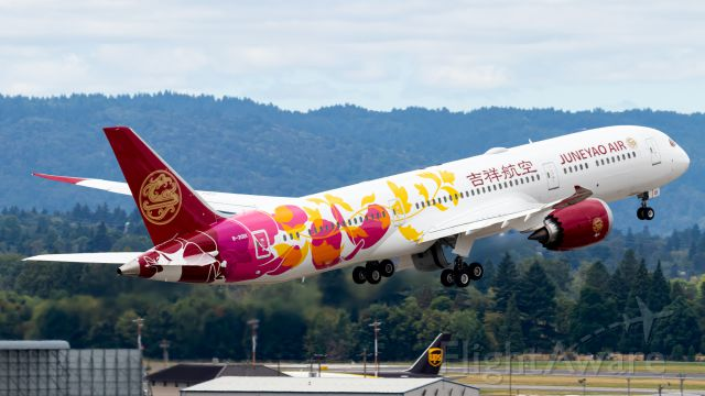 Boeing 787-9 Dreamliner (B20D1) - Juneyao's newest 787-9 with a colorful livery departing KPDX as BOE984 Heavy.