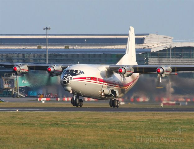 Antonov An-12 (UR-CAH) - Russian built Antonov AN-12, departs Dublin, Ireland on 28th December 2011
