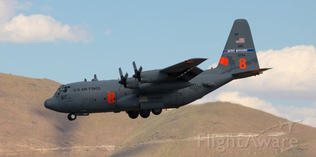 """Lockheed C-130 Hercules (93-7314) - """"Roller One Four,"""" a MAFFS-equipped Nevada Air Guard """"High Rollers"""" C-130H (93-7314) is snapped here at the end of a late afternoon short final approach to runway 34L.<br />* FULL size provides best Q."""