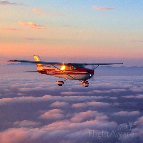 Cessna Skyhawk (N19602) - Formation flight during sunset over the Pacific Ocean.