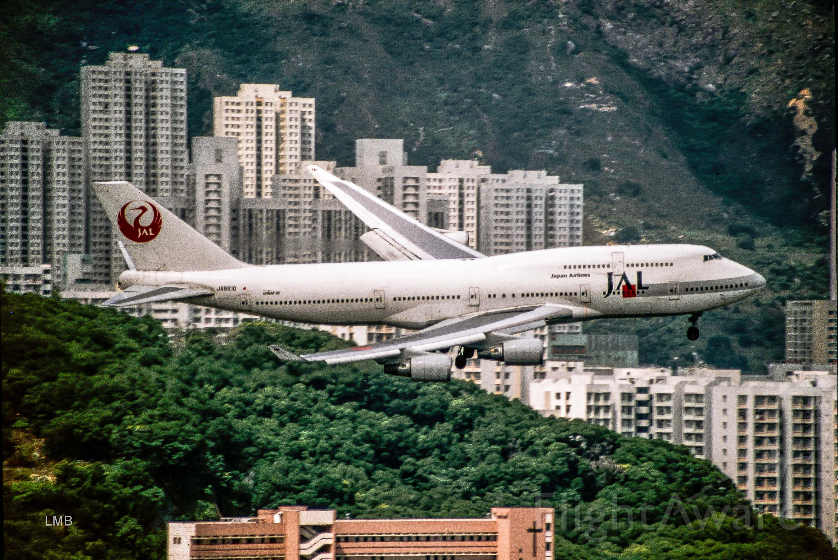 Boeing 747-400 (JA8910) - Slide Scan Kai Tak 1996
