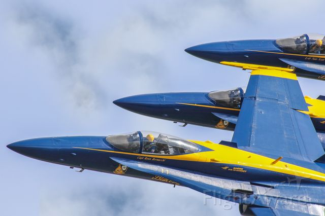 """McDonnell Douglas FA-18 Hornet — - This photo really captures the precision that the Blue Angels fly with. The F18's appear to be stacked right on to of each other, when in all actuality, they are stacked right on top of each other! I Shot this photo at """"Wings over North Georgia"""" air show at the Rome airport. I shot this with my Canon 600mm lens. My camera settings were Shutter 1/8000, F5.6, ISO 1000. Please check out my other aviation photography. Votes and positive comments are always appreciated."""