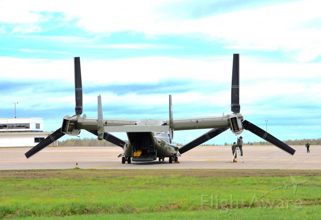 Bell V-22 Osprey (16-8332) - Mechanics perform post-op maintenance after long flight. These tiltrotor turboprops are 38 feet in diameter.