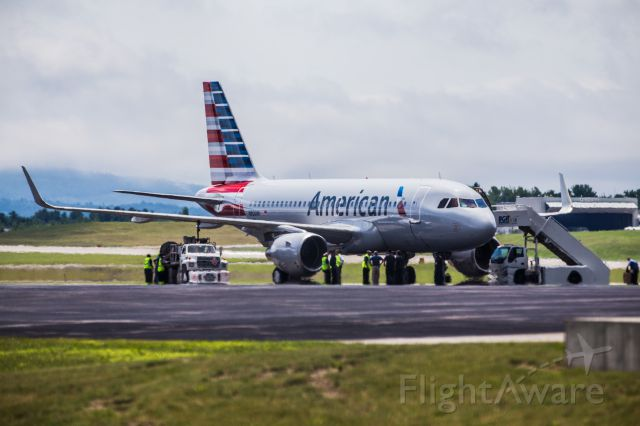 Airbus A319 (N8001N) - American's new Airbus A319 stopping in Bangor for fuel and customs before heading to Dallas.