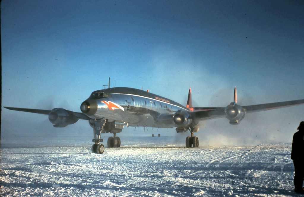 — — - Connie USN arriving McMurdo Sound from Christchurch, NZ Operation Deep Freeze 1958-59