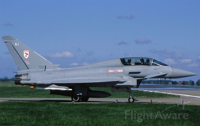 ZJ801 — - 29 sqn Typhoon T.3 entering the runway for another mission at Fightertown Coningsby