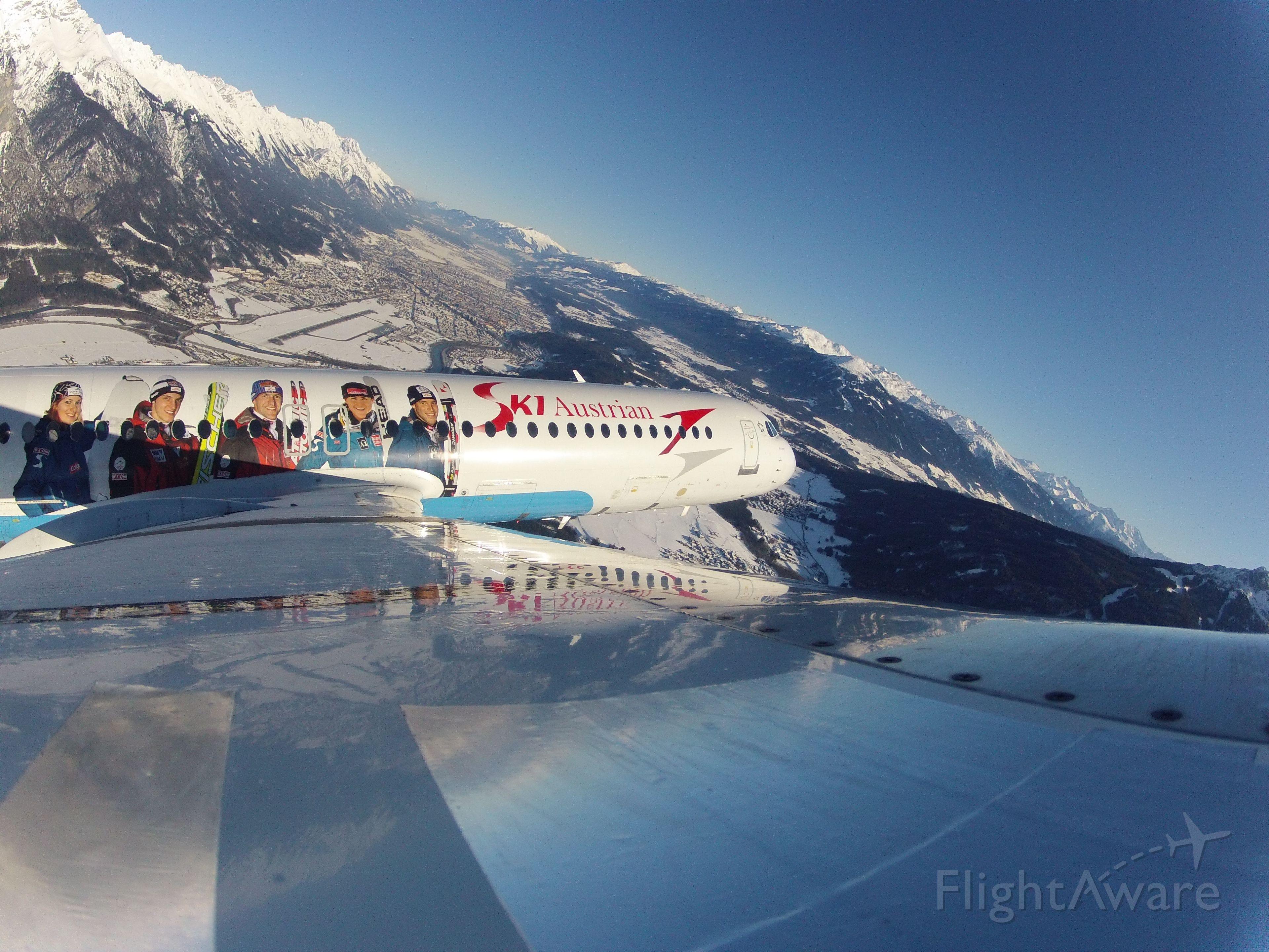 Fokker 100 (OE-LVM) - PR-flight for the Austrian Skiing Federation, no PAX, just departed runway 26 below