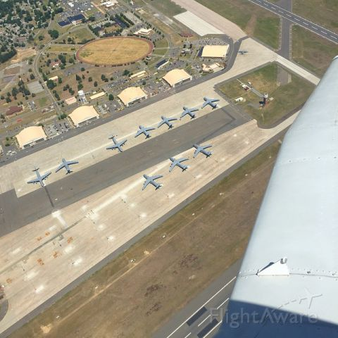 Lockheed C-5 Galaxy — - Mounted GoPro caught the C-5s on the ground at CEF as I over-fly while en-route to BAF.