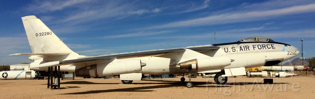 — — - B-47 Stratojet on display at the Nuclear Science and Technology Museum in Albuquerque.
