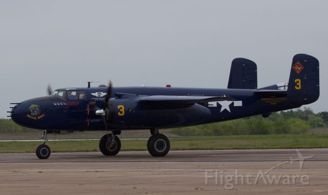 """North American TB-25 Mitchell (N9643C) - """"Devil Dog"""" a PBJ US Marine variant of the venerable B-25 Mitchell, operated and maintained by the Commemorative Air Force Wing in Georgetown, TX. Taxiing in after her performance at the Heart of Texas Airshow in Waco, TX, April 2018 (please view in """"full"""" for best image quality)"""