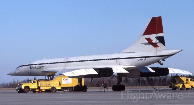 Aerospatiale Concorde (GN94AB) - G-N94AB (G-BOAB) parked on the ramp at CYMX (Mirabel near Montreal) in January 1980, taking on fuel prior to departure.  This was probably a diversion from KIAD due to weather.  Notice the registration.