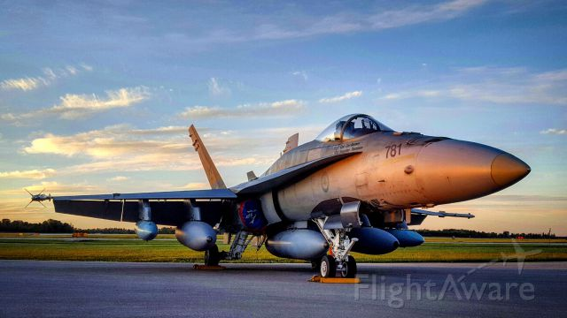 McDonnell Douglas FA-18 Hornet (18-8781) - CF-18 Hornet at sunset - London Ontario Canada