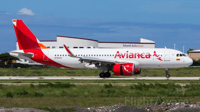 Airbus A320neo (N764AV) - Revenue flight from Colombia! Welcome!